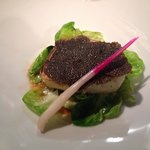 Chilean sea bass with black truffle and Brussels