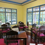 Cheery colours of the dining area