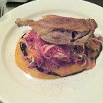 duck with kumara puree and a spiced coleslaw
