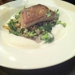 tuna with bacon foam, mushroom puree and veg