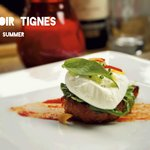 Rosted red pepper polenta topped with poached egg