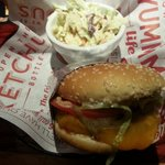 Petite sized Banzai Burger with excellent tangy Cole slaw