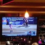 Nice big screen TV. Women's softball showing  Team US v Canada.  US in pink scored home run whil