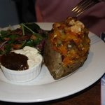 kumara stuffed with bacon and feta.