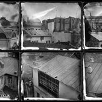 View of the old town from our studio (ambrotype panorama)