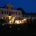Evening view of the rear area with band playing.