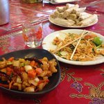 Pad Thai, cashew nut chicken and spring rolls