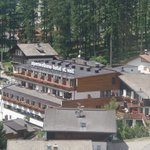 Hotel viewed from nearby cable car.
