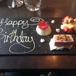 Birthday desert in kyloe restaurant