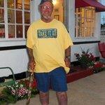 "Ron ""Tattoo 66 Man"" Jones in front of Boot's office"