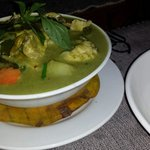 Flavourful green curry - dark because power had gone off. Normal for LP!