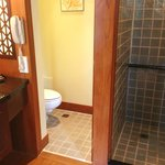 Separated toilet and bath area.