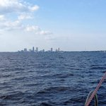 Now and Zen sailing in St. John's River...city skyline...JAX