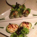 spring rolls and stuffed avocado