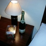 Champagne and strawberries in room