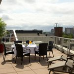 Rooftop terrace overlooking Old Montreal streets