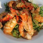 Lemon and pepper squid, lobster and tiger prawn salad
