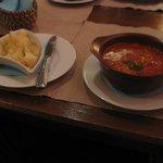 Bean soup and Cuban potatoes