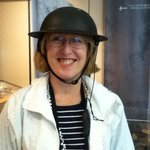 Loving the tin hats you wear during the underground tour!