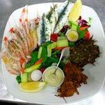 Mixed platter of fresh langoustines, marinated sardines, neonati fritters and whitebait cakes
