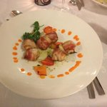 Bacon wrapped shrimp at Steak House