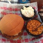 Beef brisquit sandwich, cole slaw and baked beans. Delicious!