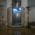 Glass lift in elegance hotel