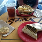 Chicken panini and veggie wrap... And a cookie!