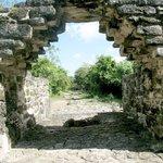 A corbel arch and sacbe at San Gervasio, Cozumel