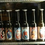 A selection of beer in the cooler at the general store!