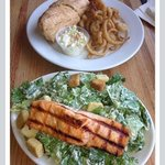 Salmon Caesar Salad (yum)! Crab salad wrap (where's the crab?)