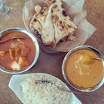 Butter chicken, malai kofta with rice and naan