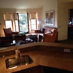 View of dining room and living room from kitchen