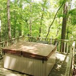 A very private hot tub with a forest view!