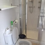 Shower and toilet in 108 (private double en suite)