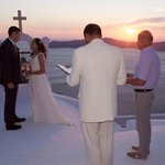 Beautiful sunset wedding ceremony at church near Astra