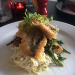 Main: Sea Bass Tempura Bombay , samphire, and small roasted potatoes. This main was absolutely f