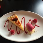 Dessert: Tarte citron with raspberry sorbet