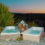 Twin garden baths under the stars