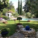 Prachtige tuin met zwembad. Het uitzicht vanaf je ontbijt tafel.
