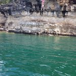 Jumping off Baxter Cliffs about a 30 minute boat ride from Cedar Wood Resort - June 2014