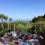 Amazing breakfast with this beautiful view! Fresh eggs, vegetables and salad, all from their chi