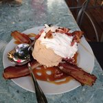 The bacon ice cream...would give it 3 or 4 stars. Try the flash fried spinach. Delicious. - June