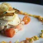 Tuna Tartar with a Fingerling Potato Salad, Cherry Tomatoes and Brunois Zucchini