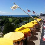 The Grand Hotel's cafe at Fort Mackinac. Great view of city and harbour.