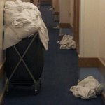 Stinky smelly soiled sheets blocking wheelchair access !!!!