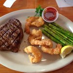 Flat Iron Steak and Fried Shrimp