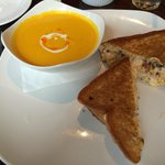Sweet carrot soup and grilled pimento cheese sandwich with bacon jam