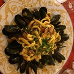 """Homemade fresh pasta with fresh seafoods. Just """"tastefully"""" Great & generous portion."""