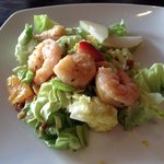 Strawberry summer salad with shrimp
